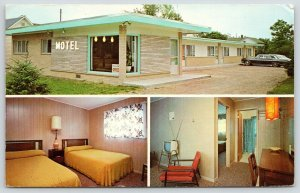 Mackinaw City Michigan~Bingham's Parkview Motel Office~Portable Television~1950s