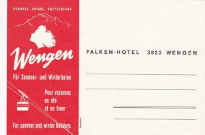 Switzerland Wengen Falken Hotel Vintage Luggage Tag sk4223