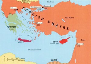Map Postcard, Turkish Empire, Levant, Cyprus, Greece, Crete MM6