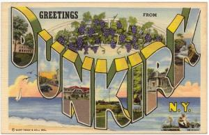 DUNKIRK, NY, Large Letter Linen postcard,