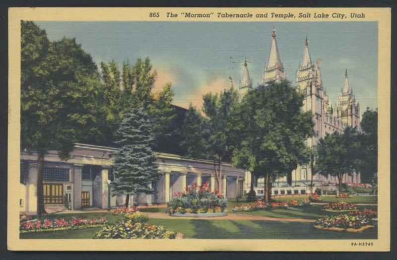 Salt Lake City Mormon Temple Tabernacle Church Utah Postcard