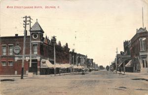 Delphos Ohio~Main Street~Dry Goods Clothing~Huge Pocket Watch Clock~1908 PC