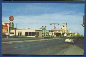 Lordsburg New Mexico nm Railroad Avenue East Gulf Texaco gas chrome postcard
