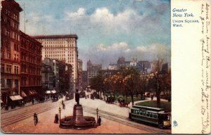 Postcard NY New York City NYC Greater Union Square West Posted 1907