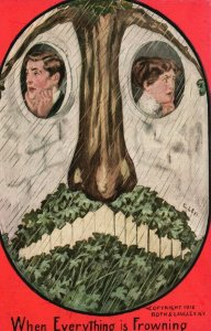 Vintage Postcard 1910's When Everything is Frowning Tree and Man & Woman