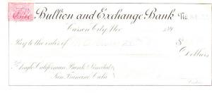 Nevada Bullion & Exchange Bank Check w/ Revenue Stamp 1898