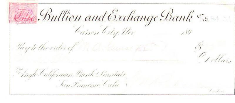 Nevada Bullion & Exchange Bank Check w/ Revenue Stamp 1898