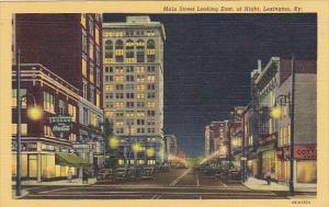Kentucky Lexington Main Street Looking East At Night Coca Cola Sign Curteich
