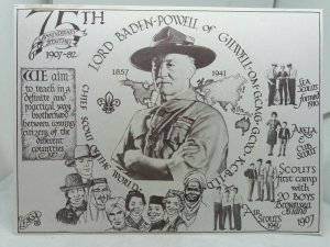 Vtg Postcard Lord Baden Powell 75 years  Scouting 1907-1982 Loughborough Scouts
