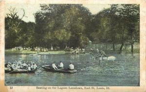 East St Louis IL Diving off Platform @ Lagoon Lansdown~Rowboats~c1915 Postcard
