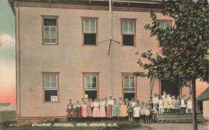 Milan NH Village School in 1906 Postcard
