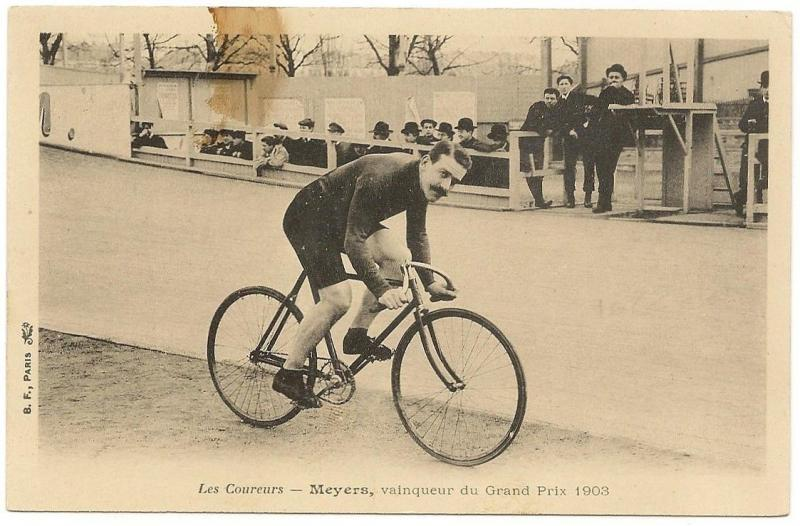 Grand Prix de Paris (FRA) 1903 Track Cycling winner Meyers stained