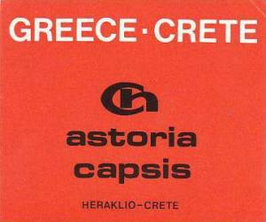GREECE HERAKLIO ASTORIA CAAPSIS HOTEL VINTAGE LUGGAGE LABEL