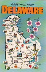 State Map Of Delaware Greetings From Delaware
