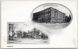 1910s Indianapolis Ind. Postcard BLIND ASYLUM & SHORTRIDGE HIGH SCHOOL Buildings