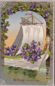 Birthday Sailboat With Purple  Flowers 1912