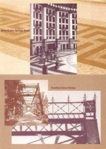 2~Postcards IN Indiana  ENDANGERED  West Baden Springs Hotel~Hamilton St Bridge