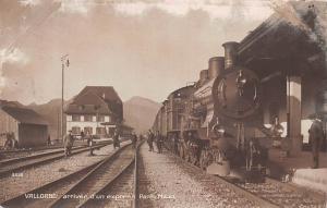 Switzerland Vallorbe arrivee d'un express Paris Milan, train railway 1915