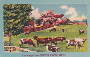 Michigan Greetings From South Lyon 1957