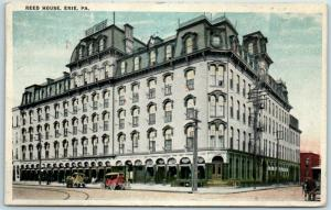 Erie, Pennsylvania Postcard REED HOUSE HOTEL Street View w/ 1920 PA Cancel