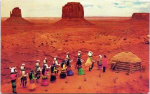 postcard Yebechai Dancers and Monument Valley