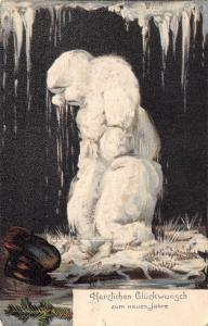 New Year Fantasy~Sad Dejected Melting Snowman~Big Nose~Icicles Drop~1907 PC