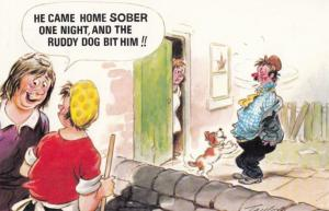 Womans Dog Attacks Drunk Tramp Husband Neighbours Laughing Comic Humour Postcard