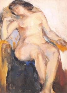 Postcard Art Print FEMALE NUDE by Shang Yang, Chinese Oil Painting #860