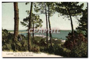 Old Postcard Cannes The Ste Marguerite and St Honorat Cross Guards Views