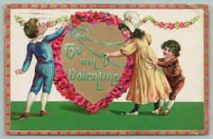 Victorian Valentine~Children Decorate Red Poppy Heart~Gold~TUCK Floral Missives