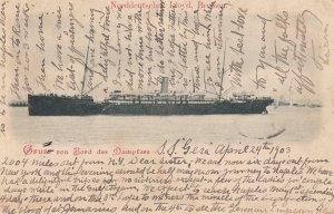 Gruss von Bord des Dampfers S.S. GERA , Norddeutsch Lloyd , Bremen , 1903