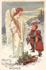Hearty Christmas Wishes! Tree Sledge, Children, Mother Angel