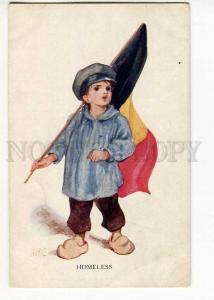 264809 BELGIUM PROPAGANDA Homeless w/ FLAG by AMC Vintage PC