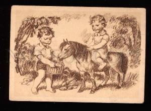 016808 Little Kids w/ HORSE Pony in garden Vintage PC