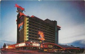 South Lake Tahoe Nevada~Harveys Resort Hotel~Neon Night Lights~1960s Postcard