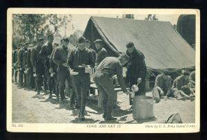 US Army Signal Corps Postcard, Come And Get It, Chow Line, 1941!