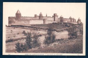 Southeast view Carcassonne Aude France unused c1920's