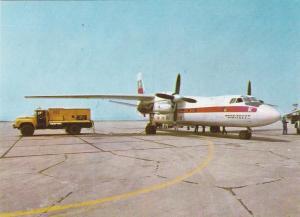 Airport at Burgas , Bulgaria , 50-60s ; Prop Airplane Refueling
