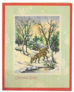VINTAGE 1940s WWII ERA Christmas Greeting Holiday Card DEER IN SNOW