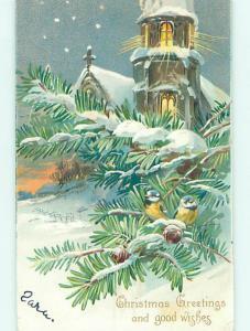 Pre-1907 christmas CUTE BIRDS SITTING IN PINE BRANCHES BESIDE CHURCH HQ6129