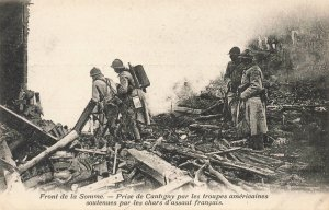 French On The Somme Front French tanks Taking of Cantigny Postcard