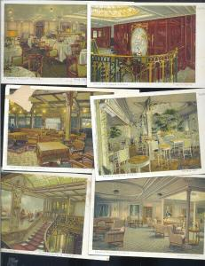HAMBERG AMERIKA LINE KAISERIN AUGUSTA VICTORIA SHIP INTERIOR LOT OF 6 POSTCARDS