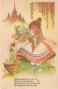 Little girl in fairy land with flowers bouquet, duckcNice spanish PC 1950s