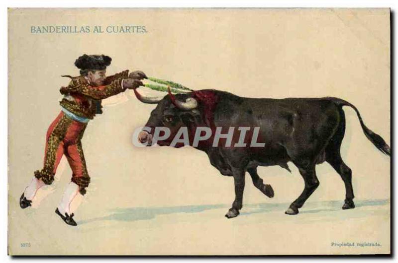 Old Postcard Bullfight Bullfight al Banderillas Cuartes
