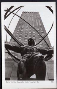 New York YORK CITY Statue of Atlas Rockefeller Center RPPC by Mainzer