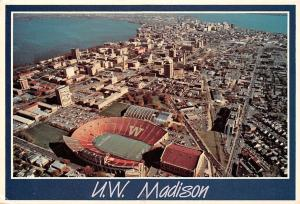 U.W. Madison Wisconsin, Aerial view, Camp Randall stadium, fieldhouse, campus