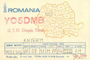 Romania Amateur Radio Station QSL card country map Cluj Campia Turzii