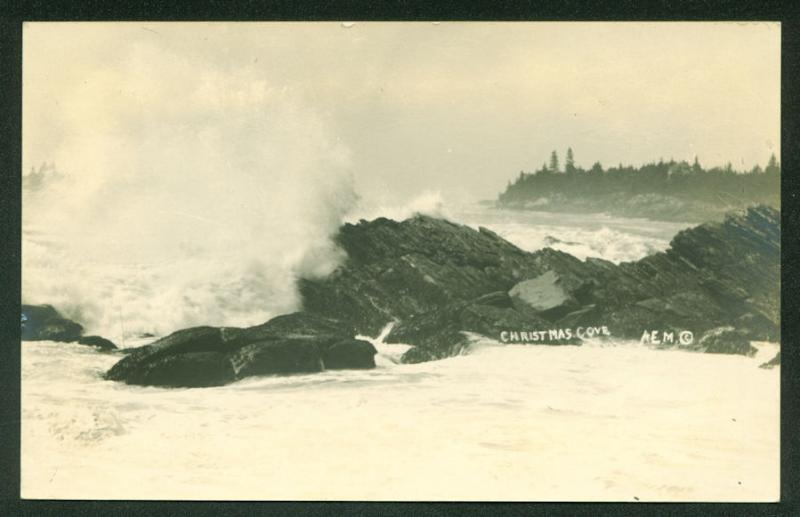 MAINE CHRISTMAS COVE Ocean Breaking Rocky Shore Scene Real Photo RPPC Postcard