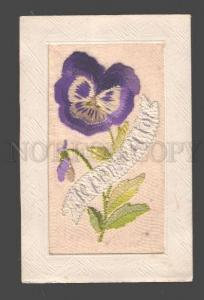 097553 EMBROIDERY HAND MADE Flower PANSY Vintage RARE PC