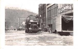 Johnstown Flood Disaster Pennsylvania Trucks on Main st Real Photo PC J68718